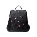 New Stylish Floral Print Black Nylon Varsity Backpack Casual Bag for Girls 33*30*14 CM