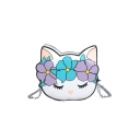 Cute Cartoon Floral Cat Pattern White Crossbody Wallet with Chain Strap 17*6*20 CM