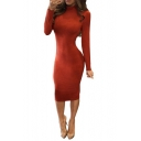 Women's Trendy High Neck Long Sleeve Sexy Hollow Out Crisscross Back Plain Orange Midi Pencil Dress