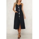 Womens Chic Unique Shell Button Front V-Neck Sleeveless Black Maxi Plain A-Line Strap Dress