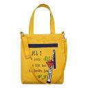 Stylish Letter Printed Zipper Ribbon Embellishment Canvas Shoulder Messenger Bag for Students 34*5*38 CM