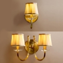 Fabric Tapered Shade Wall Light with Crystal 1/2 Lights Traditional Sconce Lamp in White for Bedroom