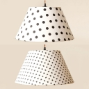 One Light Tapered Shade LED Ceiling Pendant Contemporary Fabric Pendant Light in White for Bedroom