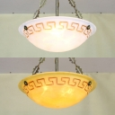Dome Hallway Inverted Pendant Light Glass 3 Lights Vintage Style Ceiling Pendant in White/Yellow
