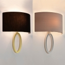 Metal Fabric Sconce Light 1 Light Contemporary Wall Lamp in Gold/Silver for Bedroom Foyer