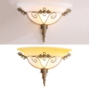 1 Light Bell Shade Wall Sconce with Leaf Traditional Frosted Glass Wall Lamp in White/Yellow for Gallery