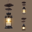 Black Kerosene Hanging Light 1 Light Antique Style Clear Glass Suspension Light for Dining Room