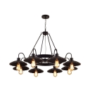 Black Scalloped Edge Pendant Lamp 8 Lights Industrial Bare Bulb Chandelier for Dining Room