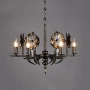 Metal Flameless Candle Hanging Light Restaurant 6 Lights Vintage Chandelier in Aged Brass