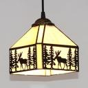 Rustic Lodge Shade Pendant Light with Deer Glass 1 Light Black Suspension Light for Bedroom