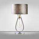 Vintage Aged Silver Desk Lamp Drum Shade 1 Light Metal Reading Light with Teardrop for Hotel