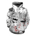 New Stylish Ahegao 3D Blood Comic Girl Pattern Long Sleeve White Sport Unisex Hoodie