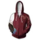 Popular 3D Comic Cosplay Costume Long Sleeve Zip Up Dark Red Unisex Hooide