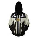 3D Crown Pattern Long Sleeve Sport Loose Cosplay Costume Black and White Zip Up Hoodie