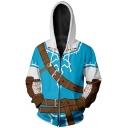 Unique 3D Pattern Comic Cosplay Costume Long Sleeve Zip Up Loose Blue Hoodie