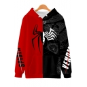 New Stylish Cool Spider Pattern Colorblocked Red and Black Casual Loose Hoodie