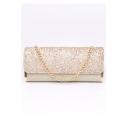 New Trendy Plain Glitter Gold Envelope Bag Crossbody Clutch for Women 30.5*13.5*5.5 CM