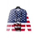 Independence Day Cool Striped Star Flag Finger Printed Round Neck Casual Loose Unisex Sweatshirt