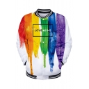 Pride Month Popular Letter LOVE WINS Colorful Painting Rib Stand Collar Long Sleeve Button Down Baseball Jacket