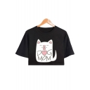 Cute Cartoon Cat Letter DOG MOM Printed Round Neck Short Sleeve Cropped T-Shirt