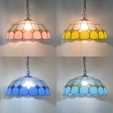 Grid Dome Bedroom Pendant Light Glass Single Light 16-Inch Tiffany Style Traditional Ceiling Light