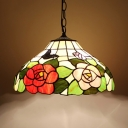 Bedroom Butterfly Rose Hanging Light Stained Glass 16 Inch 1 Light Rustic Style Suspension Light