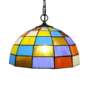 Stained Glass Grid Bowl Hanging Light 1 Light Tiffany Style Pendant Light for Kid Bedroom