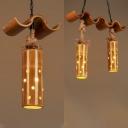 Rustic Style Tube Shade Pendant Lamp Bamboo 1/2 Lights Pendant Lighting for Restaurant Lodge