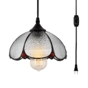 Plug In Dome Pendant Light 1 Light Simple Style Frosted Glass Suspension Light for Study Room