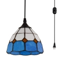 Lattice Dome Bedroom Hanging Light Glass 1 Head Nautical Style Plug In Pendant Light in Blue