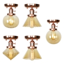 Edison Bulb Hallway Flush Mount Light Amber Glass 1 Light Retro Loft Ceiling Fixture in Brass