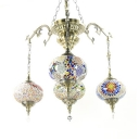 Multi-Color Oval Shade Chandelier 4 Lights Art Deco Glass Hanging Light for Dining Room