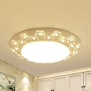 Dining Room Flower Ceiling Fixture Metal Simple Style White LED Flush Mount Light with White Lighting/Third Gear