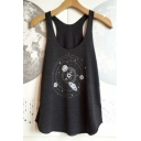 Hot Fashion Planet Pattern Scoop Neck Sleeveless Casual Relaxed Tank Top