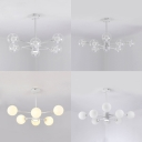 Spherical Shade Chandelier Simple Style Clear/Milk Glass Pendant Lamp in White for Living Room
