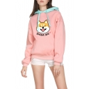 Funny Cute SHIBA INU Dog Printed Fashion Colorblocked Long Sleeve Pink Hoodie