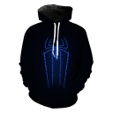 New Fashion Cool 3D Spider Pattern Casual Unisex Black Hoodie