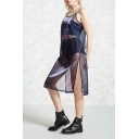 Hot Popular Sheer Purple Sexy Split Side Midi Casual Loose Slip Dress