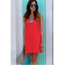 Summer Basic Simple Plain Chic Scalloped Hem Round Neck Sleeveless Mini Shift Tank Dress