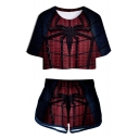Fashion Blue and Red Spider Pattern Short Sleeve Crop Tee with Casual Dolphin Shorts Two-Piece Set