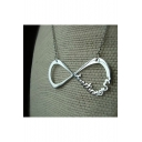 New Trendy Vintage Number 8 Shaped Sweater Silver Necklace