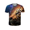 New Trendy Cool 3D Tiger Pattern Round Neck Short Sleeve Basic T-Shirt