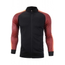 Mens Stand Collar Colorblocked Long Sleeve Zipper Front Slim Fit Soccer Training Jacket