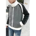 Guys New Fashion Colorblock Stand Collar Long Sleeve Zipper Front Casual Grey Sweatshirt Jacket