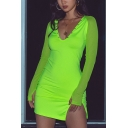 Stylish Flourescent Green Sexy V-Neck Mesh Panel Long Sleeve Split Side Mini Bodycon Club Dress