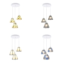 Cafe Cone/Grid Bowl Ceiling Pendant Glass 3 Lights Tiffany Style Suspension Light
