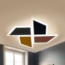 Metal Toy Windmill Ceiling Mount Light Cartoon Third Gear/Warm/White LED Flush Light for Nursing Room