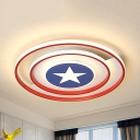 Nordic Blue Star Ceiling Mount Light Acrylic Stepless Dimming/Warm/White LED Flush Light for Kid Bedroom
