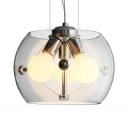 Glass Drum Shade Chandelier Living Room Three Lights Modern Stylish Pendant Lamp in Chrome