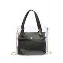 New Stylish Transparent Plain Satchel Shoulder Bag with Chain Strap 19*7.5*17 CM